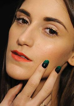 Pretty spring 2012 makeup look: crimson lipstick, gold eyeliner and serious nails at Jen Kao