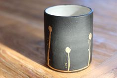 Midnight Bloom Tumblers - Black and Gold - Wheel Thrown Stoneware by Mudhavi on Etsy