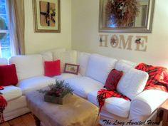 Christmas in the Family Room.  Ikea Ektorp sectional sofa in Blekinge white.