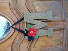 Jute wrapped letter wreath