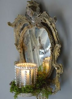 Holiday French inspired mirror with beaded candle & Spanish moss. Chandeliers, Belgian Pearls, French Christmas, Silver Christmas, Christmas Bells, For Elise, Christmas Decorations, Holiday Decor, Christmas Themes