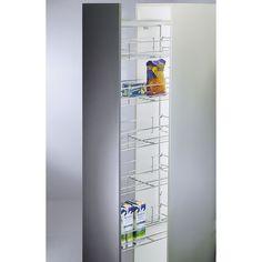 COLUMNA PARA DESPENSA CON 5 CESTOS CROMADOS - 269.26€ - Ideal para almacenar frutas, verduras , y todo tipo de despensa. en su cocina. La referencia incluye un bastidor, 5 cestos y unas escuadras para la fijación de una puerta frontal. Se puede montar a la derecha o a la izquierda en el armario. - Tienda online Casaenorden, te ayudamos a ordenar tus armarios