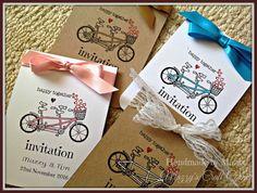 自転車招待状 Wedding Door Hangers, Wedding Doors, Wedding Day Invitations, Invites, Tandem Bicycle, Craft Corner, Vintage Bicycles, Handmade Items, Handmade Gifts
