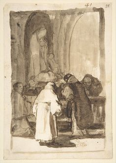 Francisco de Goya - Interior of a Church; Images of Spain Album (F), Page Etch A Sketch Art, Art Sketches, Spanish Painters, Spanish Artists, Francisco Jose, Spain Images, Ink Pen Drawings, Renaissance Art, Old Master