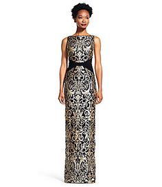 Adrianna Papell Metallic Lace XSeam Column Gown #Dillards