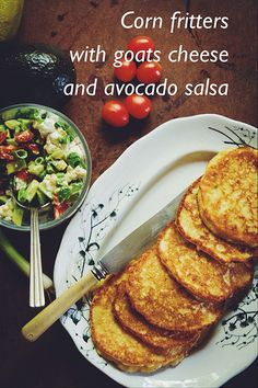 Corn fritters with goats cheese and avocado salsa by Alicia KT, via Flickr