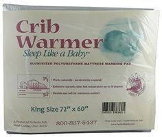"""Body Heat Activated Crib, Twin, Full, Queen or King Size Bed Warmer Mattress Pad King (72"""" x 60""""). Our Crib & Bed Warmer Mattress Pad is body heat activated based on the principle of the space blanket. Just place in between the mattress & the sheet and its thermo-lining reflects body heat and warms a crib or bed up to 10 degrees above room temperature. Safe and convenient for travel since no electricity is needed. Stain and moisture resistant. Simply wipe clean with mild soap and water…"""