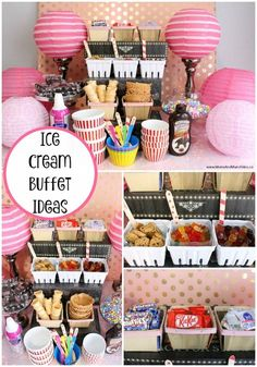 A summer party isn't complete until you have an ice cream buffet! Some delic… A summer party isn't complete until you have an ice cream buffet! Some delicious ice cream dessert table ideas here including mix-in ideas. Diy Dessert, Buffet Dessert, Dessert Bars, Party Buffet, Dessert Ideas For Party, Kids Dessert Table, Table Party, Ice Cream Buffet, Ice Cream Desserts
