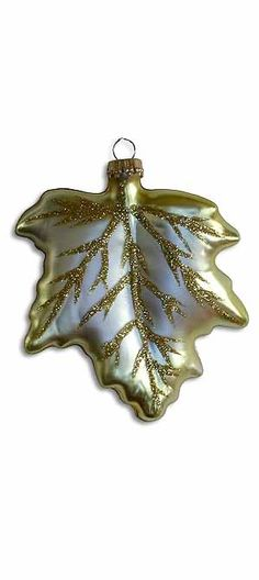 Blown glass glittered leaf Christmas ornament from Germany