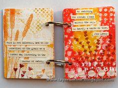 Gelli print backgrounds stamped with Darkroom Door 'Wildflowers Vol 2' Rubber Stamps DDRS034. Project by Anna-Karin Evaldsson. http://www.darkroomdoor.com/rubber-stamp-sets/rubber-stamp-set-wildflowers-vol-2