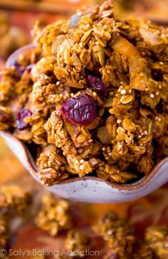 Crunchy Pumpkin Spice Granola loaded with fall goodies like pecans, dried cranberries, and pumpkin seeds.