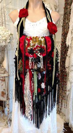 Handmade Vintage Fabric Velvet Lace Crochet Fringe Bag Hippie Boho Purse tmyers #HandmadebyTraciMyers #ShoulderBag