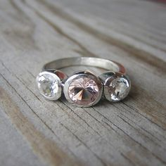 Morganite Gemstone Ring, Custom Made Recycled Silver Ring