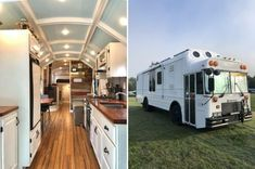 Fully Converted Off Grid Skoolie Bus Living, Tiny Living, Rv Windows, Online Home Design, Off Grid House, Little Houses, Tiny Houses, Home Design Magazines, Bus Conversion