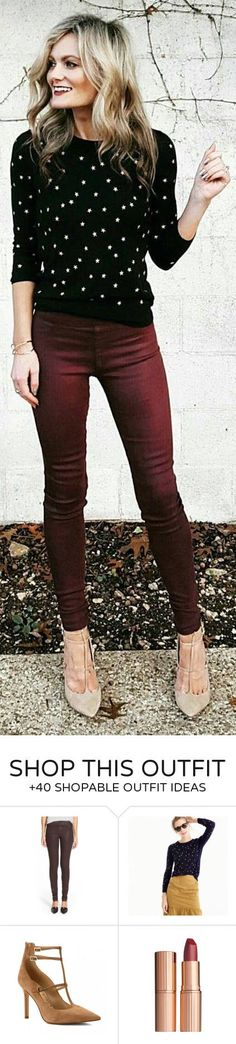Winter and Fall look. Black Dotted Knit / Red Skinny Jeans / Pumps