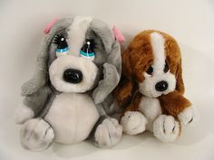 "$40.00 Set of 2 vintage 80s Plush Brown SAD SAM Puppy Dog and 11"" HONEY Stuffed Animal Basset Hound Puppy Dogs Gray with Pink Bows Applause by wardrobetheglobe on Etsy"