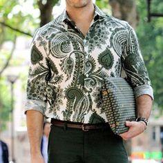 Men'S Printed Slim Long-Sleeved Shirt