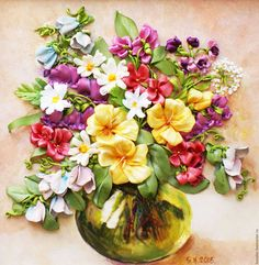 Картины цветов ручной работы. Ярмарка Мастеров - ручная работа. Купить РЕЗЕРВ,!Картина вышитая  лентами Полевые цветы. Handmade.