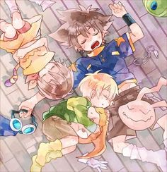 Digimon Adventure - Sleep Time: Kari Kamiya (Hikari Yagami) with Nyaromon, T.K. (Takeru) Takaishi with Tokomon and Tai Kamiya (Taichi Yagami) with Koromon