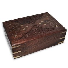 India Gift Wooden Jewelry Box Brass Inlay Work from India