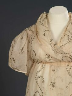 "Serenity Sunday: An elegant, diaphanous Georgian English open robe, cotton tabby with ""open work embroidery of gilt lamella"" 1795 – 1800  Royal Ontario Museum Acc.# 959.243.6"