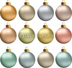 #Vector #Christmas #Balls #Pastel #Metallic #Colors #Earth #Natural — #stockillustration #Depositphotos