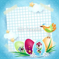 #Easter background with paper sheet  #vector #stockimage