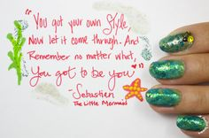 The ocean nail art was inspired by Sebastian from The Little Mermaid!  #nailart #nails #bblogger #TheLittleMermaid #positivequotes