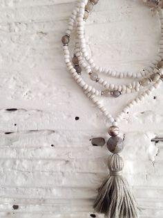 Rich Hippie Design — #100401 - Love Bead Necklace - soft cream beads, labradorite accents, tassel