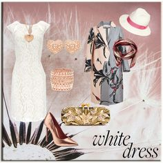 """""""Long Funky Coat"""" - created by CzeCze.  Entered in the """"Style A White Dress"""" contest on Polyvore:  """"Throw those old rules out the window about when you can wear white! Pick your fave white dress and accessorize it in a fresh new set.""""  #whitedress"""