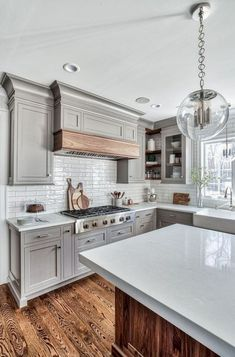 Dark, light, oak, maple, cherry cabinetry and quarter sawn wood kitchen cabinets. CHECK THE PIC for Many Wood Kitchen Cabinets. Grey Kitchen Cabinets, Painting Kitchen Cabinets, Kitchen Cabinet Design, Kitchen Flooring, Kitchen Countertops, Kitchen Grey, Kitchen Wood, Kitchen Paint, Dark Cabinets