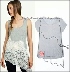 tshirt lace upcycle