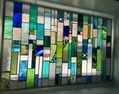SALE   Stunning Ocean View,  Blue and Green,   Stained Glass Window,   Panel,  Perfect as a Window Treatment, Glass Curtain