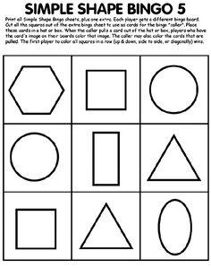 Free simple shapes bingo printable