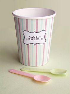 "DIY Free printable...print ice cream paper cup design and wrap around cup and stick with glue or double tape. Ice-Cream Parlour ""Make your own Sundaes"" Buffet"