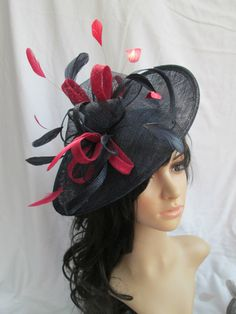 Beautiful Handmade Navy Sinamay Fascinator Hat with Raspberry trim    feathers on a Headband d9d8c92a394d