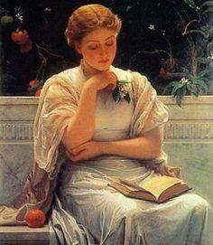 Lesendes Mädchen [Reading Girl], Gemälde von Charles Edward Perugini Copyright: Public Domain