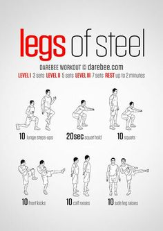 Legs Of Steel Workout Gym Workouts Leg Bodyweight Home Fitness Calisthenics Fitness Workouts, Gym Workout Tips, At Home Workouts, Home Leg Workout Men, Leg Bodyweight Workout, Leg Workouts For Men, Parkour Workout, Sprint Workout, Workouts Hiit