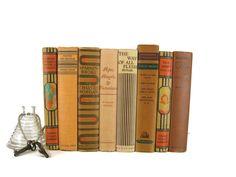 Brown Tan Vintage Books , Antique Book Bundle ,  Decorative Books , Wedding Prop , Photo Prop ,  Robert Louis Stevenson Works, Old Books