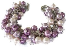 Orchid Violet, Light Lavender and Blush Pink Pearl Cluster Bracelet, Bridesmaid Bracelet, Plum Wedding Jewelry,  Cha Cha  Bridesmaid Jewelry - pinned by pin4etsy.com