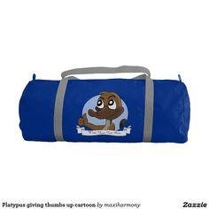 Platypus giving thumbs up cartoon gym duffel bag