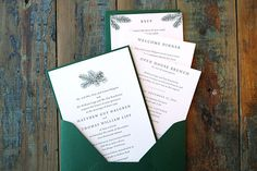PINE INVITATION SUITE.  The Pine invitation suite is elegant and traditional. The pinecone and pine branch illustrations add detail while letting the classic design and letterpress printing shine. Ideal for a Fall or Winter wedding.   All cards are letterpress printed with dark green ink on natural white cotton paper.