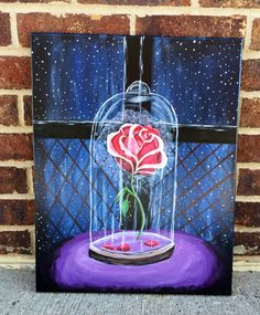 Disney beauty and the beast Rose painting  I offer 4 different sizes , 11x14 , 14x18, 16x20, and 24x30 If there is a size you are looking for that isnt listed please message me and I will see what I can do! I offer custom paintings so if you want this painting but customized I can do it! Let your imagination run wild and make this painting perfect for you!  I use acrylic paint and 3/4 inch canvases. If you want this to be able to fit into a frame please message me for canvas board!  Beca...