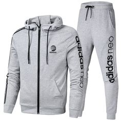 Spring Summer 2018 Cheap Adidas Long Sleeve Suit On Aliexpress Grey Source by Adidas Outfit, Adidas Pants, Adidas Jacket, Adidas Tracksuit Mens, Jogging Outfit, Adidas Neo, Spring Summer 2018, Sport Wear, Nike