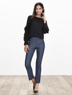 Sloan-Fit Chambray Kick-Flare Ankle Pant
