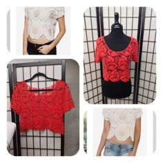 GET THE LOOK!!Needle Lace Crop Top Charlotte Russe red needlelace cropped length short sleeved top size large ...fits like medium. Denim and lace is another 2016 Spring/Summer trend and fiesta red is a 2016 summer color. The model is wearing ivory but I  am selling this beautiful red one. Charlotte Russe Tops Crop Tops