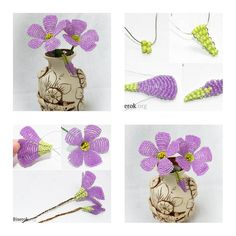 Hwo to make Beads Purple Flower step by step DIY instructions