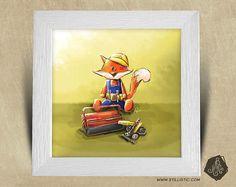 Cadre carré 25x25 cadeau Noël avec Illustration Renardeau