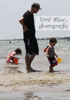 My husband, our son, and our niece - Rockport Beach, Tx - 8/9/14