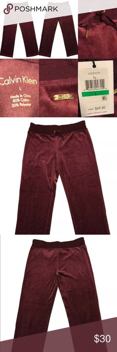 Calvin Klein Wide Leg Drawstring Velour Pants Calvin Klein Womens Wide Leg Drawstring Velour Pants Brand New with Tags Size: Women's Large Color: Burgundy Fig Product ID#: M5XF0079 MSRP: $69.50  Product Details: The Calvin Klein brand is an icon of sleek minimalism for the Modern Man and Woman. Products include apparel, accessories and home goods with clean lines and modern appeal. This Calvin Klein Velour Pants is guaranteed authentic.  80% Cotton/20% Polyester Imported Wide Leg Drawstring…